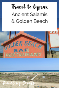 Golden Beach Ancient Salamis Cyprus pinterest graphic vertical
