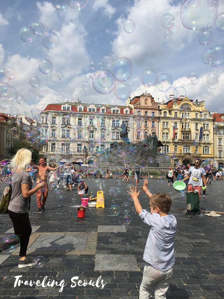 old town square prague czech republic bubbles