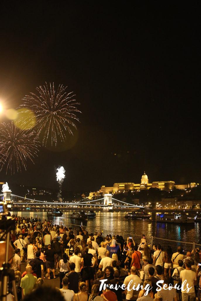 chain bridge fireworks st. stephen's day budapest hungary
