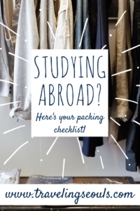 Study Abroad Packing Checklist Pinterest Graphic semester college students travel tips