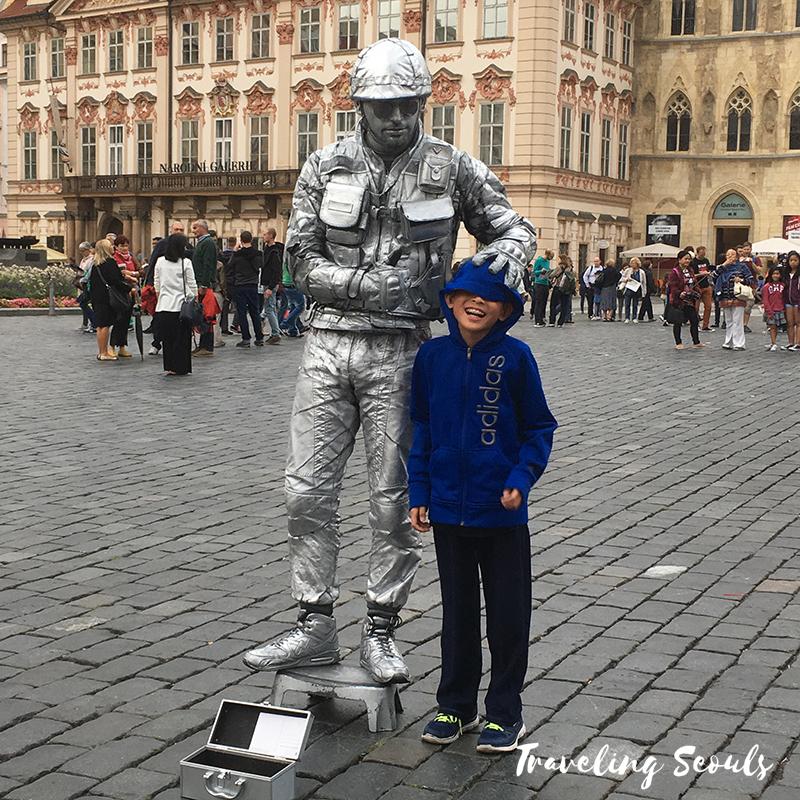 prague silver man street artist old town square prague czech republic