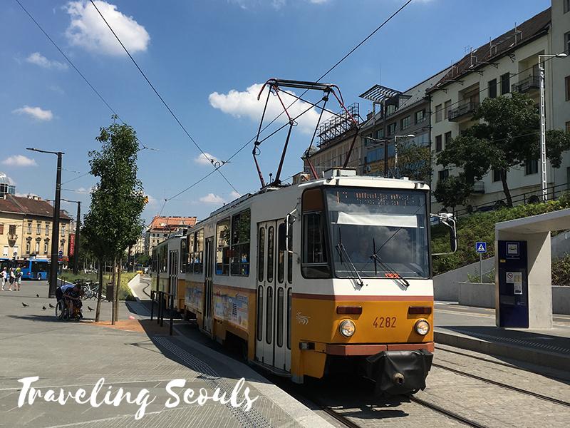 budapest hungary tram yellow transportation system public transit